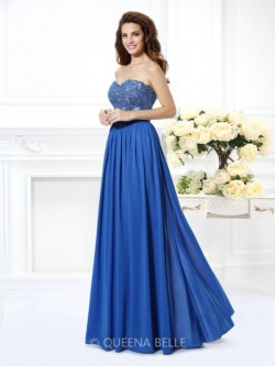 A-Line/Princess Sweetheart Sleeveless Applique Floor-Length Chiffon Dresses – Prom Dresses ...