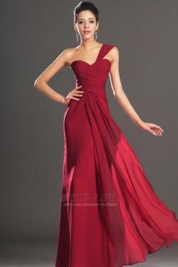 Robe de soirée Rouge Elégant Fourreau plissé Plissé Sans Manches – www.esun.fr