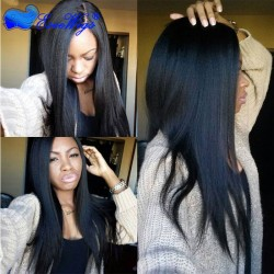 Light Yaki Straight 250% Density Lace Front Wig with Baby Hair Malaysian Virgin Hair Full Lace H ...