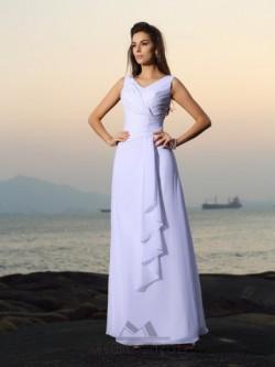 A-linjeformad V-ringad Chiffong Pärlbroderi Veck Golvläng Brudklänningar – BrudMode