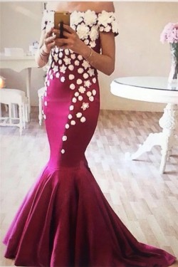 Appliques Off-The-Shoulder Mermaid Flowers Elegant Evening Dress_Evening Dresses_Special Occasio ...