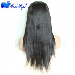 Custom Full Lace Wigs Liaght Yaki Full Lace Human Hair Wigs For Black Women With Baby Hair Bleac ...