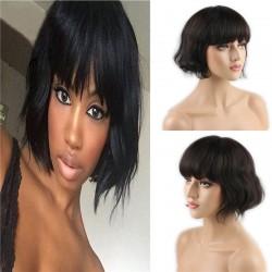Short Human Hair Wigs with Bangs Brazilian Human Hair Short Bob Wig for Women (Color:Brown)