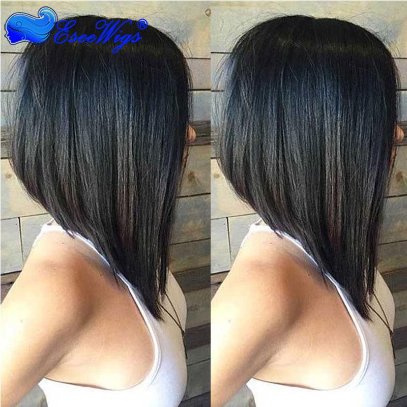 250% Density Short Bob Wig For Black Women Straight Human Hair Natural Color
