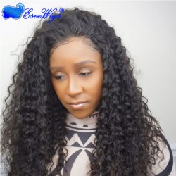 Cheap Full Head Lace Wig 180% Density Deep Wave Natural Color 1B Virgin Brazilian Human Hair Glu ...