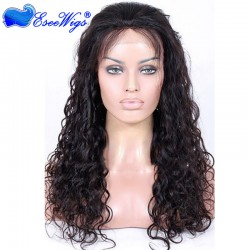 Loose Curly Virgin Brazilian Hair Natural Color 130% Density Full Lace Human Hair Wigs