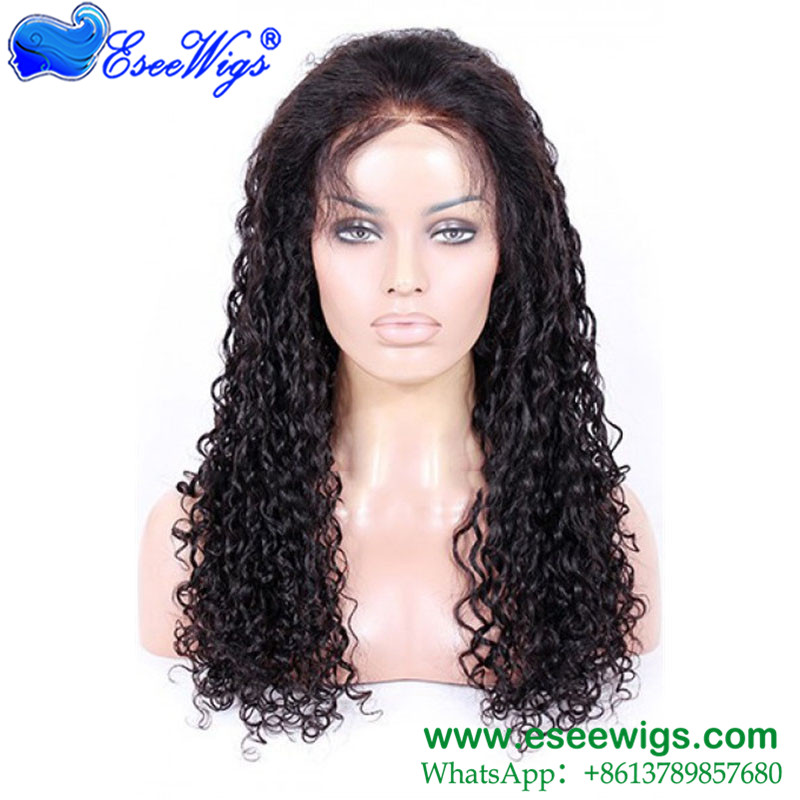 Full Lace Human Hair Wigs With Baby Hair Natural Water Wave Pre Plucked Hairline Brazilian Remy  ...