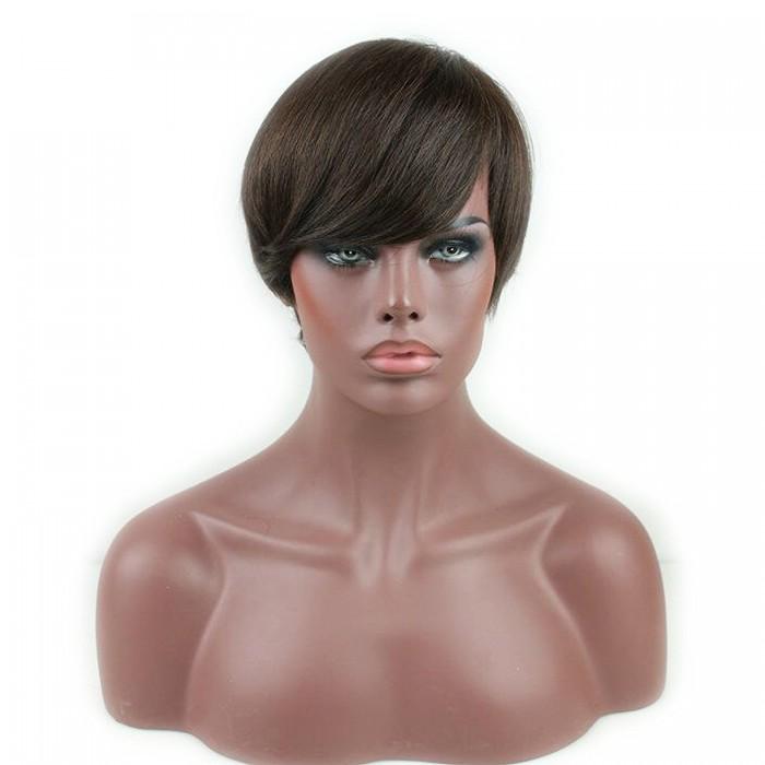 Glueless Human Hair Short Wigs Silk Straight Brazilian Virgin Human Hair Brown Color for Women