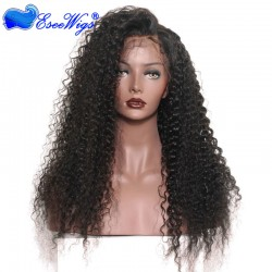 Black Full Lace Wigs With Baby Hair Virgin Hair Brazilian Deep Curl Hair 100% Human Hair