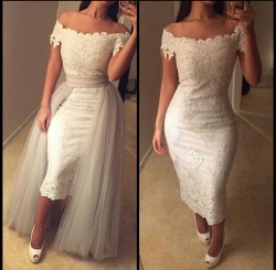 Off-the-shoulder Detachable-Train Lace Tea-length Modest Prom Dress_Prom Dresses 2017_Prom Dress ...