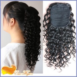 Brazilian Curly Virgin Hair Ponytail Hairpiece 100% Human Hair Clip In Ponytail Hair Extension