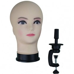 Cosmetology Bald Female Makeup Manikin Head for Wigs Making and Display Mannequin Head with C Ta ...