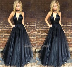 Black Newest A-line Floor-length V-neck Sleeveless Prom Dress_Prom Dresses 2017_Prom Dresses_Spe ...