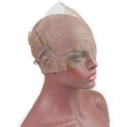 360 Full Lace Wig Cap for Making Wigs Swiss and French Lace Hair Net with ear to ear Stretch Med ...