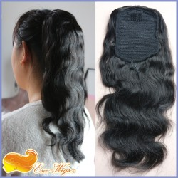 Ponytail Wrap Hair Extension Natural Black Hair Clip In ponytail 7A Brazilian Virgin Hair Long B ...