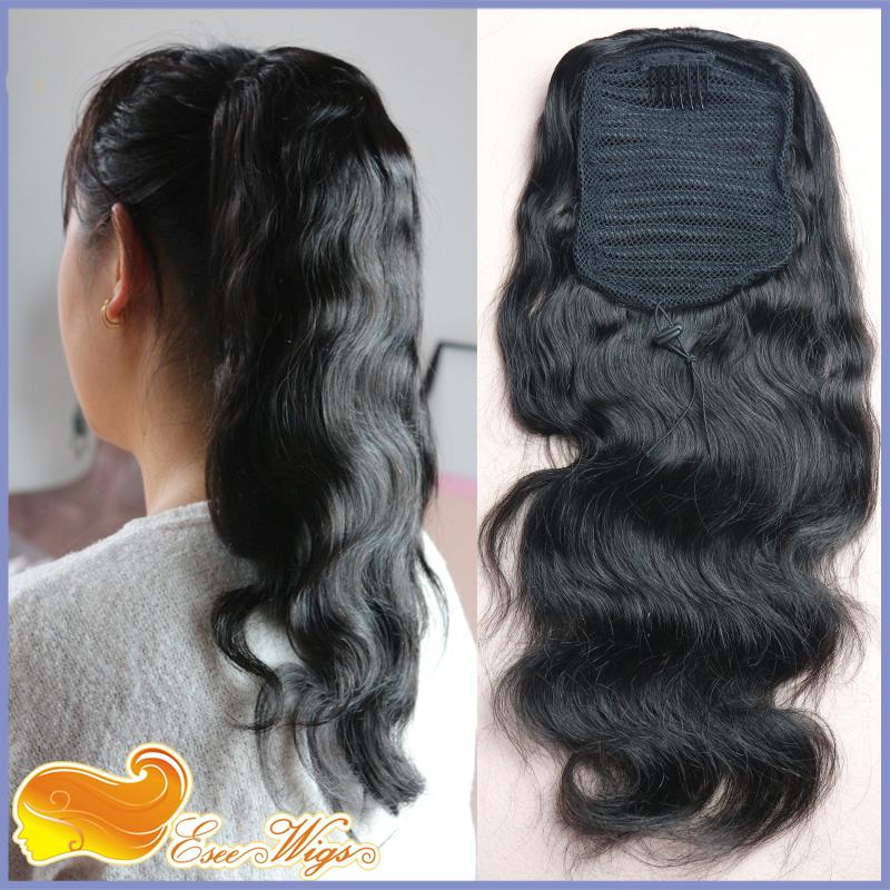 Ponytail Wrap Hair Extension Natural Black Hair Clip In ponytail 7A Brazilian Virgin Hair Long B ...