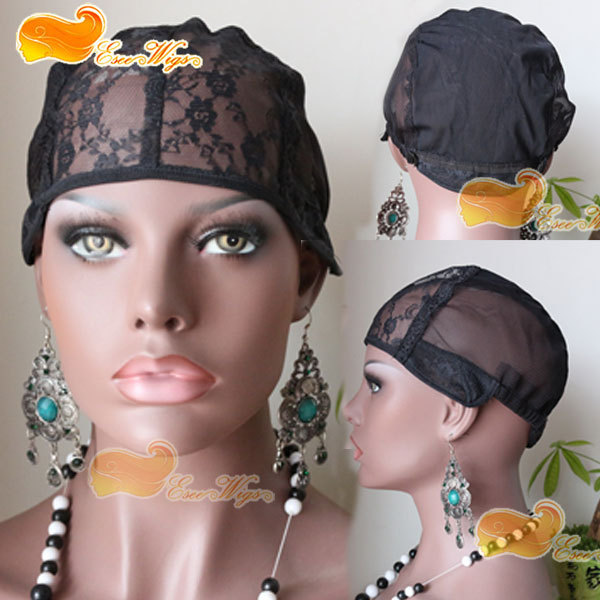 Glueless Lace Wig Caps For Making Wigs Stretch Lace With Adjustable Straps Back Weaving Cap Blac ...