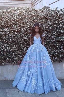 Lace Floor Length Off The Shoulder Formal Dress 2017 Baby Blue Elegant Evening Dress BA6445_Even ...