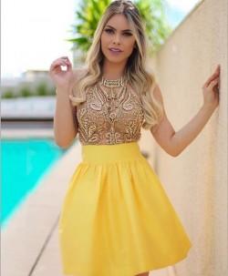 Günstig Cocktailkleider Kurz Gelb Perlen A Linie Mini Abendkleider Online