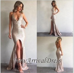 V-Neck Backless Front-Split Sexy Sequined Mermaid Prom Dress_Prom Dresses 2017_Prom Dresses_Spec ...