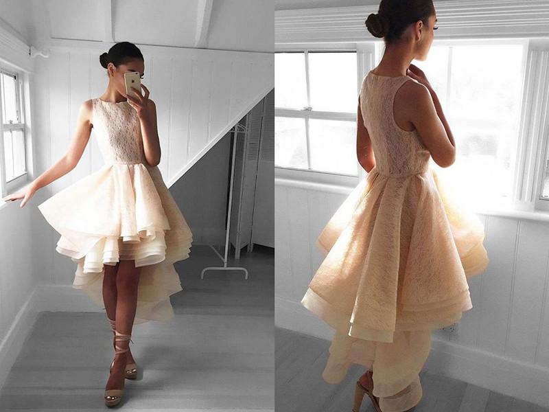 Cute Hi-Lo A-line Lace Sleeveless Jewel Ruffles Prom Dress_Evening Dresses 2017_Evening Dresses_ ...