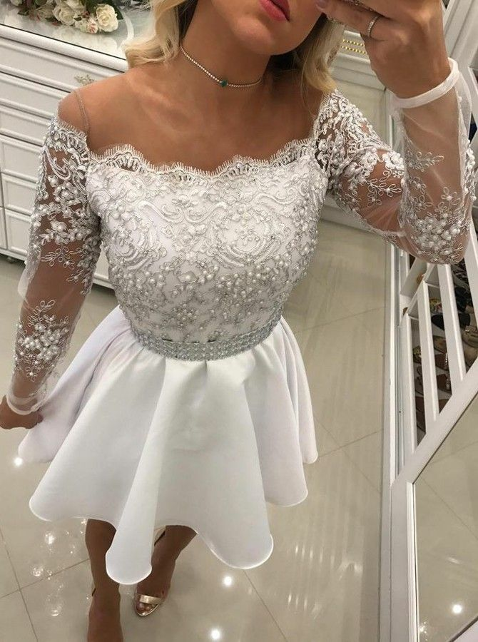 Delicate White Lace Pearls Long Sleeve Off Shoulder Short Homecoming Dress_Evening Dresses 2017_ ...