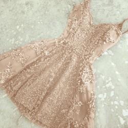 2017 Elegant Appliques A-Line Short Crystal Spaghetti-Straps Homecoming Dresses_Short Dresses/Ho ...