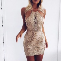 Lace-Appliques Backless Sleeveless Mini Sexy Homecoming Dress BA6717_2017 Homecoming Dresses_Fas ...
