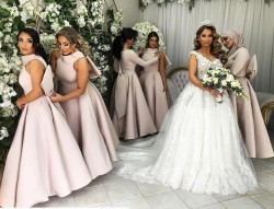 Rosa Brautjungfernkleider Lang Günstig A Line Kleider Für Brautjungfern Online