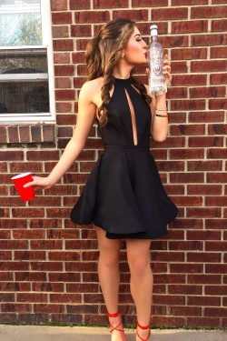 Simple Black Halter Sleeveless Short 2017 Homecoming Dress _Homecoming Dresses_Special Occasion  ...