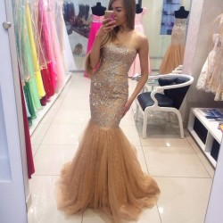 Modern Sweetheart Beading Mermaid Sleeveless Tulle Prom Dress_Prom Dresses 2017_Prom Dresses_Spe ...