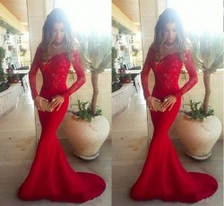 2017 Sexy Sleeves Long Gowns Off Shoulder Evening the Mermaid Red Lace Long Prom Dresses_Prom Dr ...