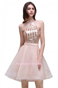 Knee-Length Sequined Organza Backless Sexy Halter Homecoming Dress_Cheap Dresses In Stock_Online ...