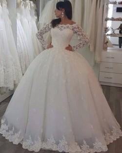 Elegant White Hochzeitskleider Mit Spitze Ärmel Prinzessin Brautkleider Günstig