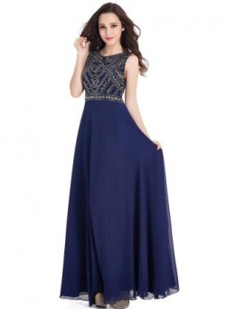 Vintage Dark-Navy Sleeveless Crystals Chiffon Long Prom Dresses_Cheap Dresses In Stock_Online We ...