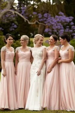 Günstig Lange Brautjungfernkleider Chiffon Herz Perlen Bodenlang Kleider Für Brautjungfern Online