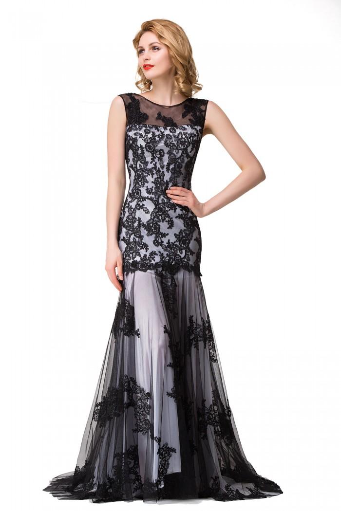 DANIELA | Scoop Neck Mermaid Black lace Applique Evening Prom dresses