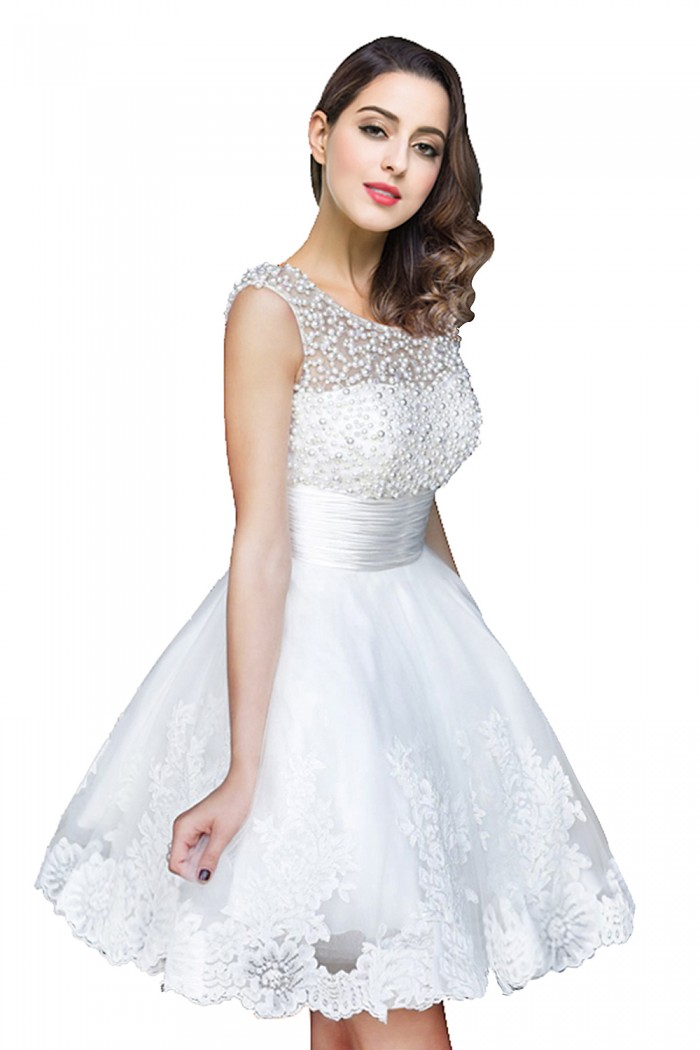 CELIA | A-line Jewel Tulle Party Dress With Beading