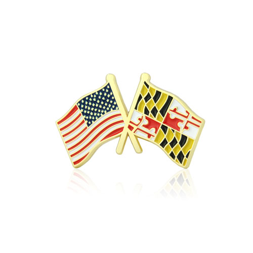 Maryland and USA Crossed Flag Pins