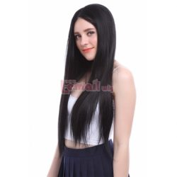 70cm Long Natural Black Straight Invisible Part Lace Wig LC58 – L-email Cosplay Wig