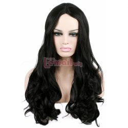 60cm Long Natural Black Wave Invisible Part Lace Wig LC54 – L-email Cosplay Wig