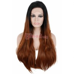 75cm Long Straight Black Fade Brown Lace Front Wig LC82 – L-email Cosplay Wig