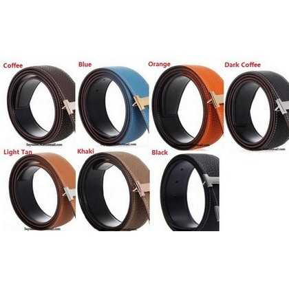Hermes Classic Stripe Leather Reversible Belt Black/Grey hermesscarvessale.com