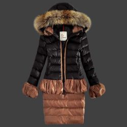 Buy Blue Women Down Fur Cap And Waistband Slim Warm Coats Outlet Moncler Jackets monclersale.us.com