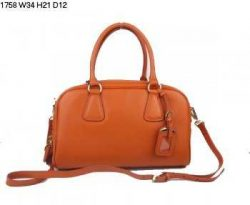 Prada Handbags Qo77 Leather Orange Authentic pradatotebag.com