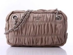 Prada Leather 319RWW Clutches And Evening Silvery Grey prada-handbagsonline.com