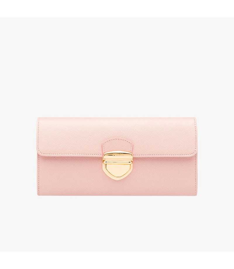 Prada Lettering Logo Saffiano Leather Wallet In Rose prada-handbagsoutlet.net