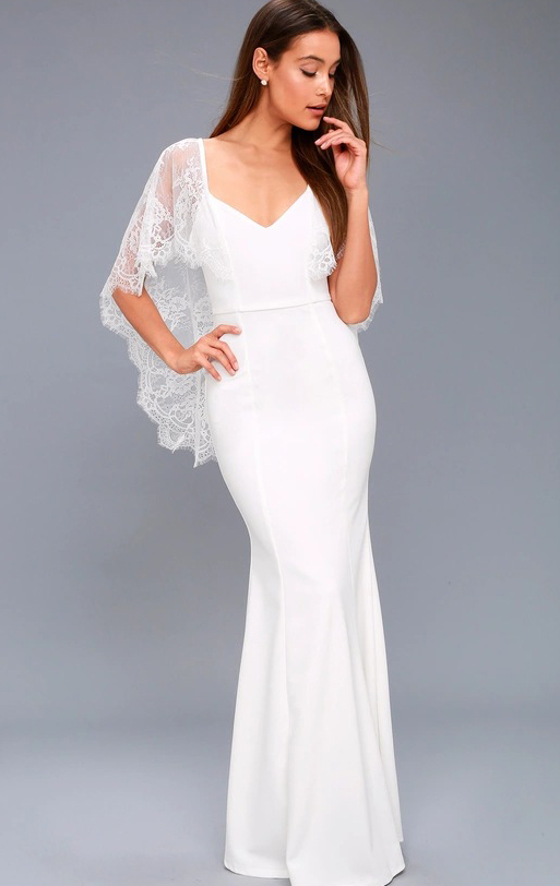 Online Long White Bridesmaid Dress