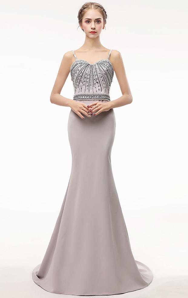 Online Long Grey Bridesmaid Dress