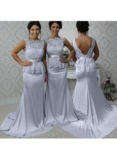 Chic Silber Abendkleider Lang Mit Spitze Kleider für Brautjungfern Günstig